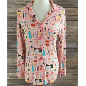 Nick & Nora Sewing Button Front Pajama Top XS